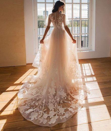 HYC A Line Wedding Dress Beach Boho Bride Gown Appliques ...