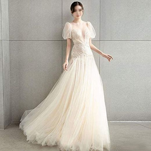 Wedding Dresses For Bride With Puff Sleeves, Perspective Deep V ...
