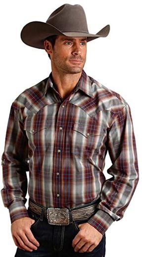 Stetson Men's Mahogany Ombre Plaid Long Sleeve Western Shirt at ...