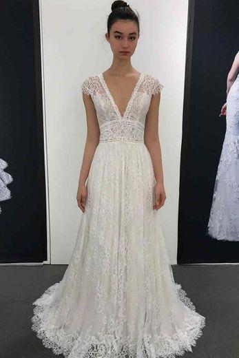 CCBubble Boho Lace Wedding Dresses 2020 V Neck A Line Beach ...