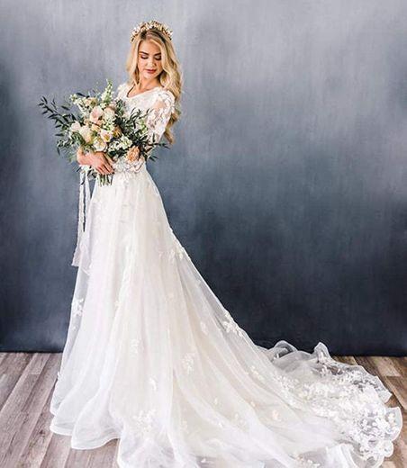 HYC Women's A line Modest Wedding Dresses with ... - Amazon.com
