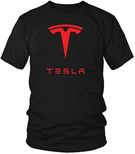 Amazon.com: Men's Tesla Red Logo T-Shirt Men Cotton Tee