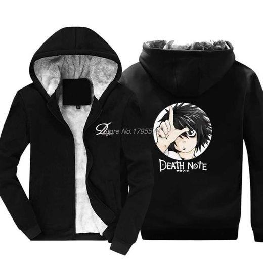 Death Note Hoodies Sudadera con Capucha de Lana para Hombre 2020 Jerseys de Lana de Invierno Ropa de Hip Hop Manga Completa Negro Moletom Masculino