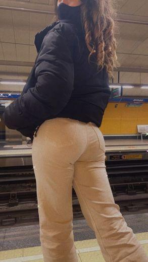 Pantalón lino naranja