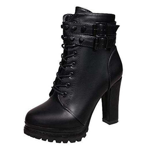 Logobeing Zapatos de Tacón Alto Botas Mujer Invierno Martain Boot Zapatos con