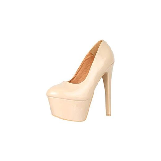 Elara Zapato de Tacón Alto Mujer Plataforma Chunkyrayan Beige QM007 Beige