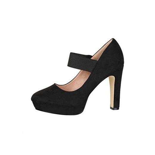 Elara Zapato de Tacón Alto con Correa Mujer Vintage Chunkyrayan Negro E22500