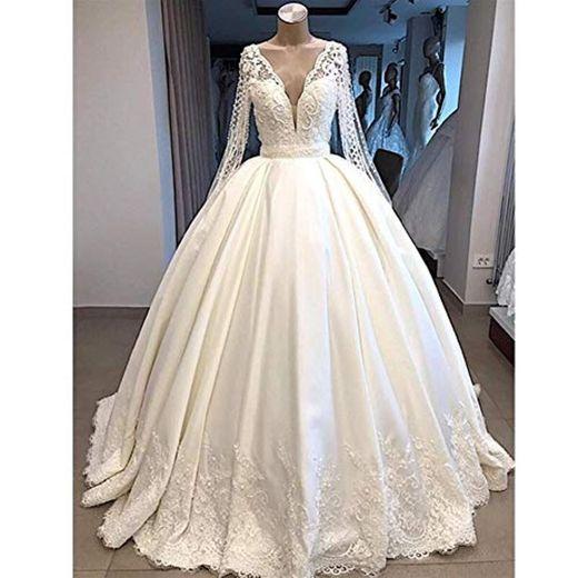 QING XIN-1225 Wedding Dress,Prom Dresses del Banquete de Manga Larga Vestido de