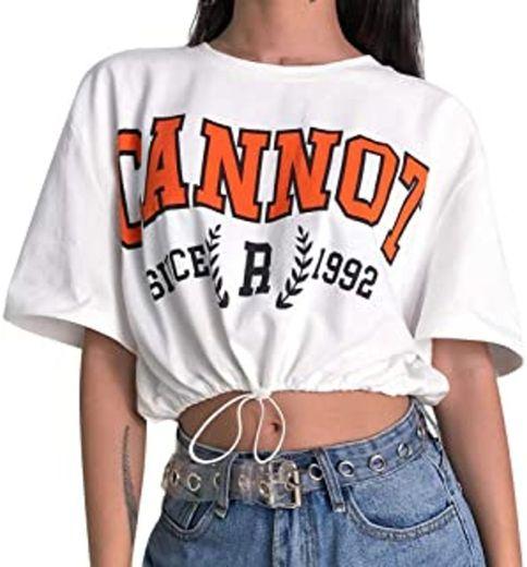Goodsatar Mujer Rosa Manga corta Casual Camiseta Mezcla de algodón Cuello en V Chaleco Tops Blusa (S