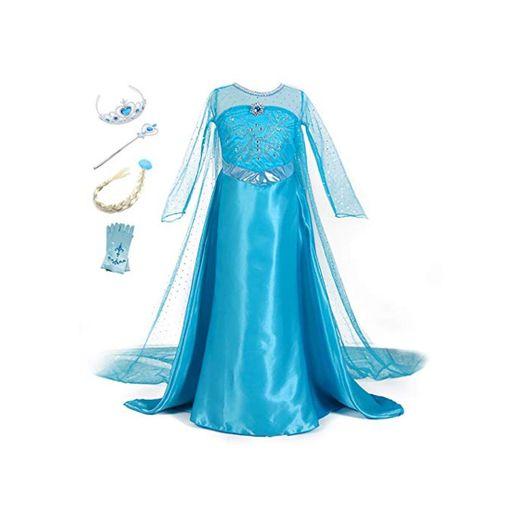 YOSICIL Vestido de Princesa Elsa Vestido Frozen Niñas Disfraz Traje de Cumpleaños