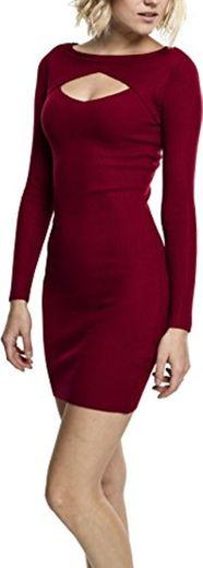 Urban Classics Ladies Cut out Dress Vestido, Rojo