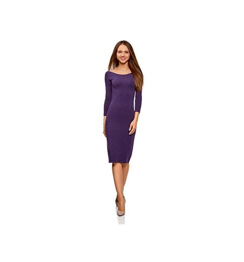 oodji Ultra Mujer Vestido Ajustado con Escote Barco, Morado, ES 34