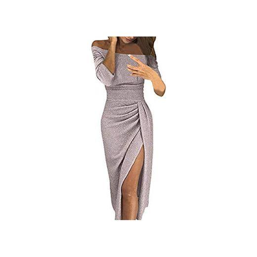 Damas Moda Bolso Cadera Cuello Abierto Vestido Brillante Vestido de Cristal Vestido de Noche Vestido de Noche Fiesta Fiesta sin Tirantes Sexy Elegante riou