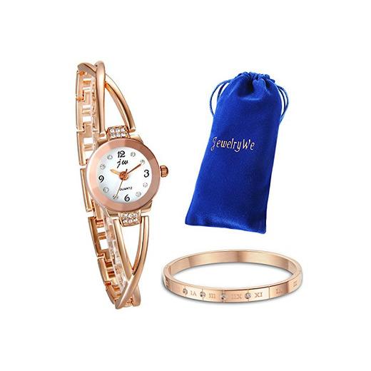 JewelryWe Juego de Pulsera con Reloj Oro Rosa