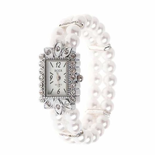 siwetg - Reloj de Pulsera para Mujer con Perlas y Brillantes de
