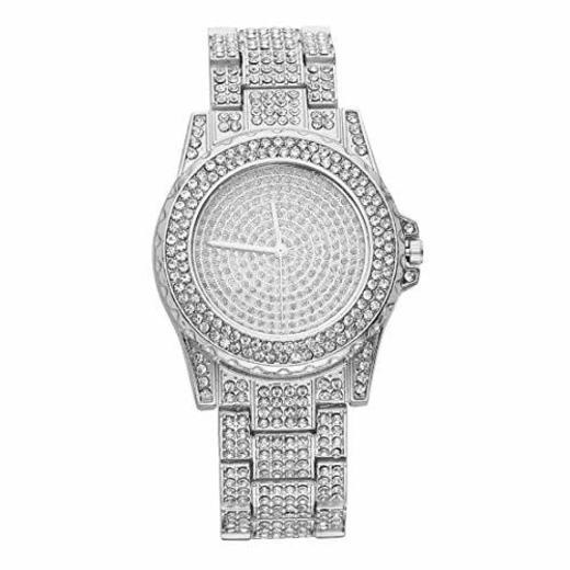 Diseño de lujo lleno de relojes de pulsera de movimiento de cuarzo