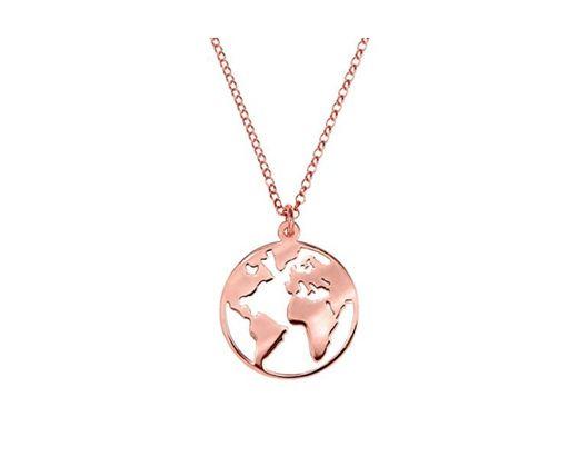 SINGULARU ®Collar Mundo Oro Rosa para Mujer Plata de Ley 925 con baño de Oro Rosa de 18k