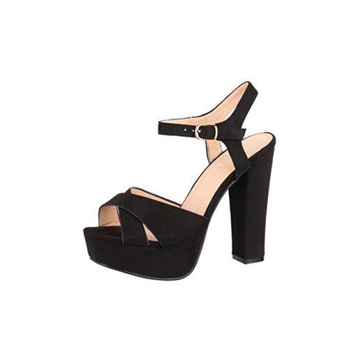 Elara Zapato de Tacón con Plataforma Mujer Punta Abierta Chunkyrayan Negro AT0985