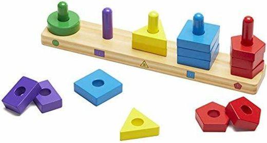 Melissa & Doug- Stack & Sort Board Tablero para Apilar y Clasificar,