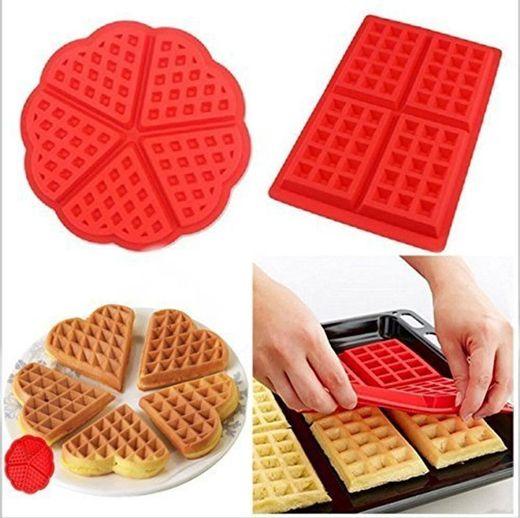 2 PC/Set Waffle Mold silicona horno cacerola para hornear galletas para tarta