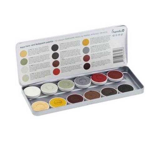 Paleta de 12 Aquacolores para rostro y cuerpo Fearsome Faces by ...