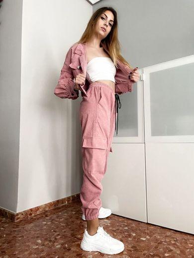 Conjunto de pana rosa