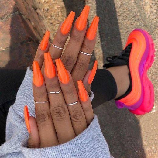 #nails #neon #orange #summer