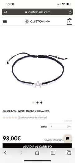 Pulsera con inicial en oro y diamantes | Customima