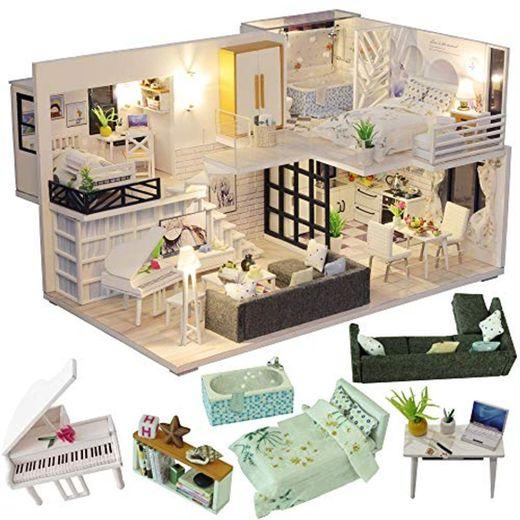 CUTEBEE Miniatura de la casa de muñecas con Muebles, Equipo de casa