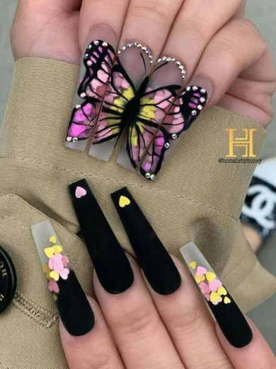 Decorated Butterfly Nails