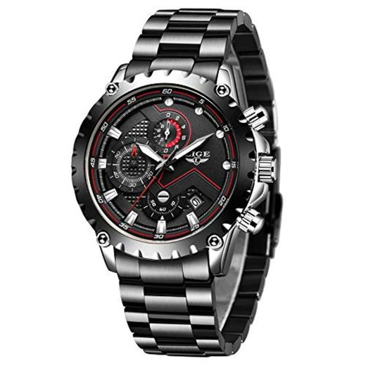 LIGE Relojes Hombres Acero Inoxidable Impermeable 30M Deportes Reloj De Cuarzo Analógico Moda Fecha Negocios Reloj Clásico Negro Hombres …