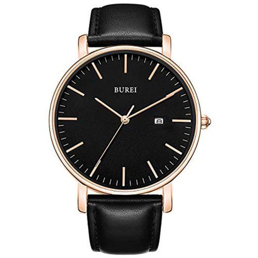 BUREI Reloj de Pulsera clásico para Hombres Estuche Ultra Fino Minimalista Dial analógico con Fecha Movimiento de Cuarzo japonés