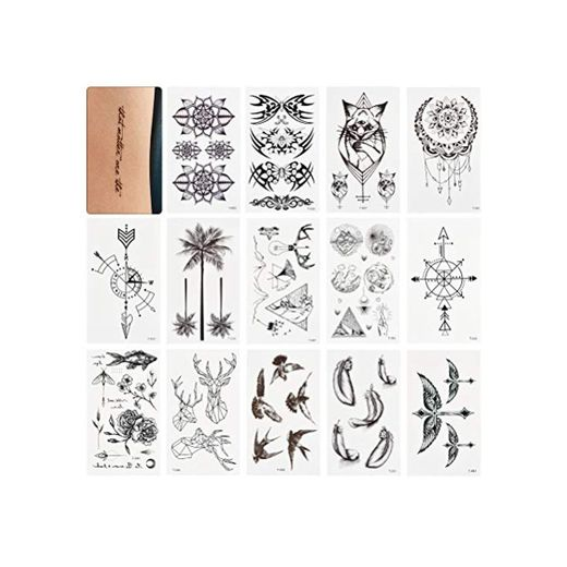 WOWOSS 60 Hojas Tatuajes Temporales para Adultos Pegatinas de Tatuajes Falsos Impermeables