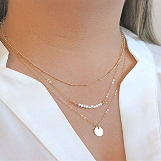 Jovono Fashion Multi – Collar de capas con lentejuelas de perlas para
