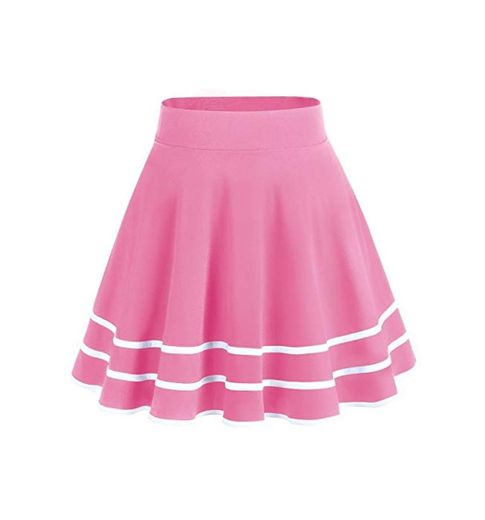 DRESSTELLS Falda Mujer Mini Corto Elástica Plisada Básica Multifuncional Coral