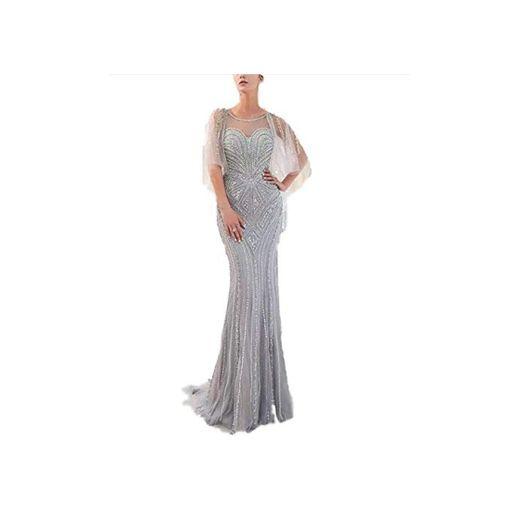 Elegant Dress Vestido de Cuello Redondo Brote de Seda Chal Mantón Fiesta