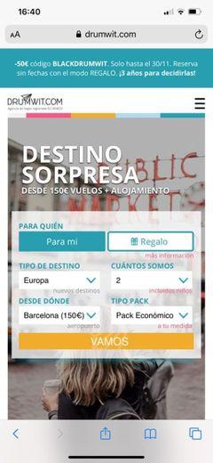 Drumwit | Viaja a un destino sorpresa desde 150€ vuelos + hotel