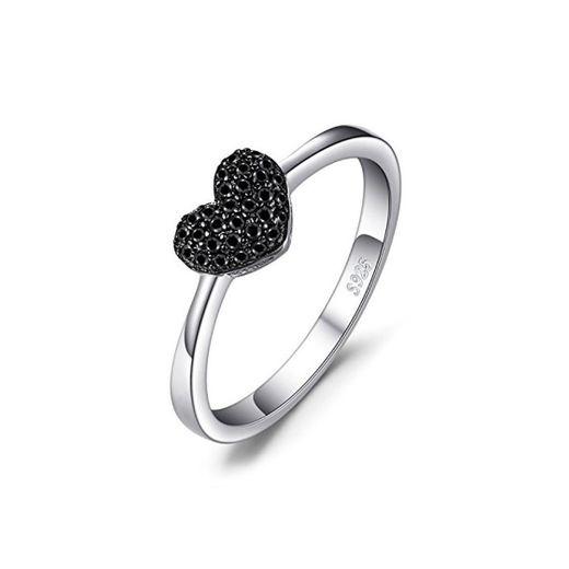JewelryPalace Anillo dulce en forma de corazón adornado Espinela negro en Plata