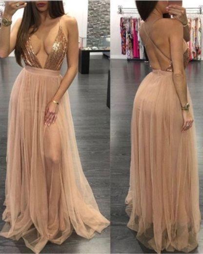 Vestido largo lentejuelas de adina